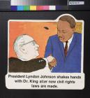 President Lyndon Johnson shakes hands with Dr. King