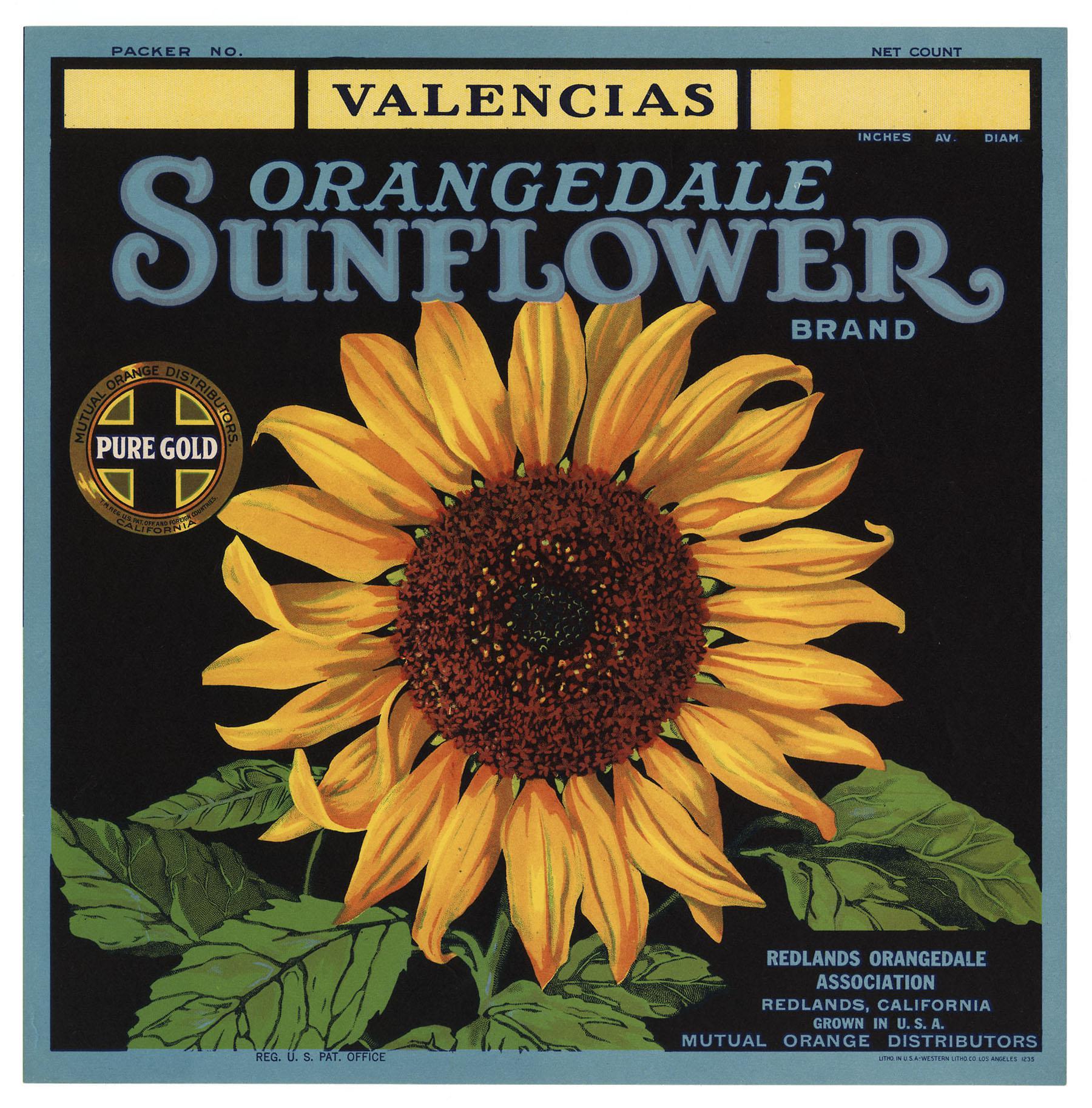 Valencias Orangedale Sunflower Brand Redlands Orangedale Assn California Label