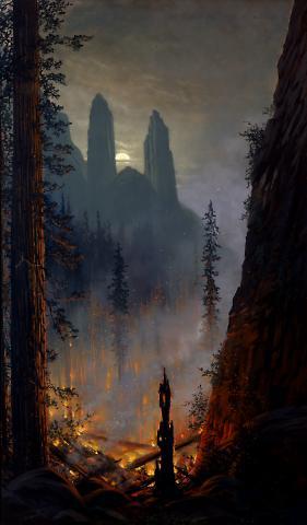 Yosemite  (Forest Fire in Moonlit Landscape)
