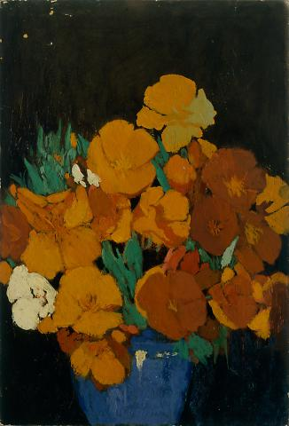 California Poppies in Blue Bowl
