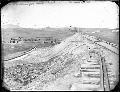 Great Embankment, Granite Canyon, Looking West, Huts of Construction in the Valley