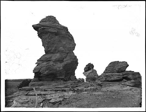 Eagle's Nest, Red Buttes near Red Buttes Station, U.P.R.R., Soft Red Sandstone, about 80 Feet High