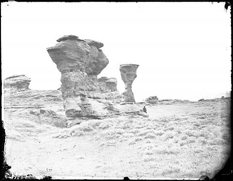 Red Buttes or Vase Rock, sometimes called Dial Rock, near Red Buttes Station