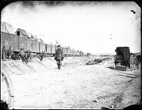 Construction Train at End of Track, General Casement's Outfit, General in Foreground