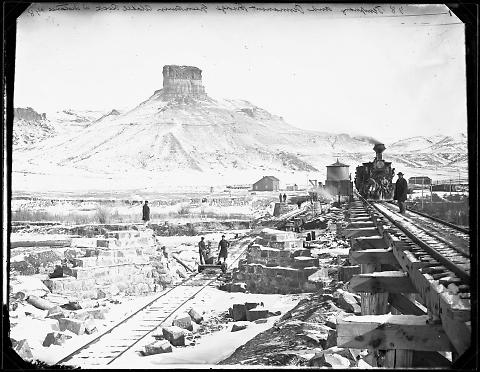 Temporary and Permanent Bridge, Green River, Citadel Rock in Distance