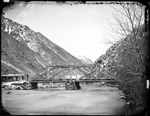 Mormon Toll Bridge at Mouth of Weber Canyon