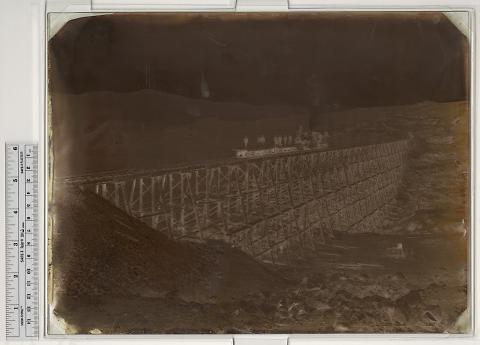 Promontory Trestle, Engine on Trestle, West, No. 3