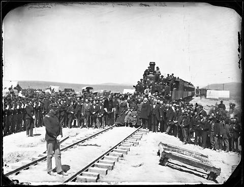 Officers of Union Pacific Rail Road at Ceremony of Laying Last Rail at Promontory