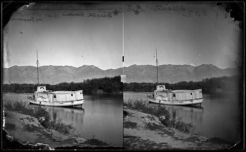 Steamer Kate Conner, Bear River, Wasatch Mountains in Foreground