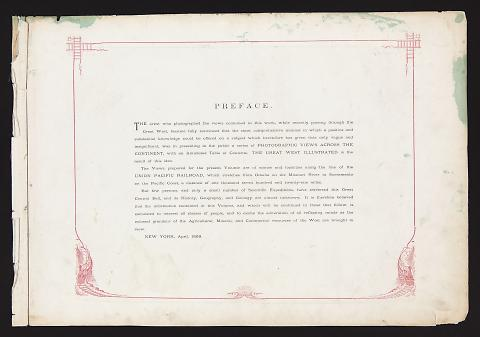 Preface from The Great West Illustrated in a Series of Photographic Views Across the Continent