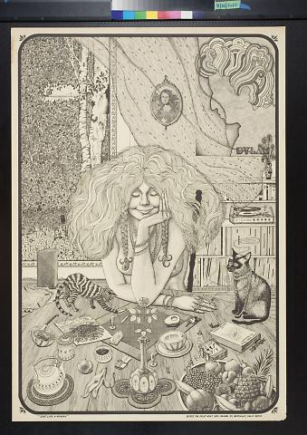 untitled (woman sitting at a table with cats)