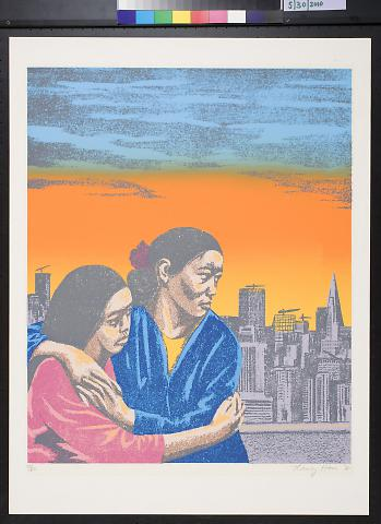 untitled [two women in front of San Francisco skyline at sunset]