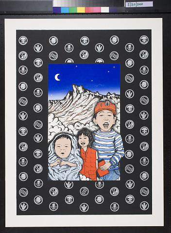 Untitled (three children in front of a mountain landscape)