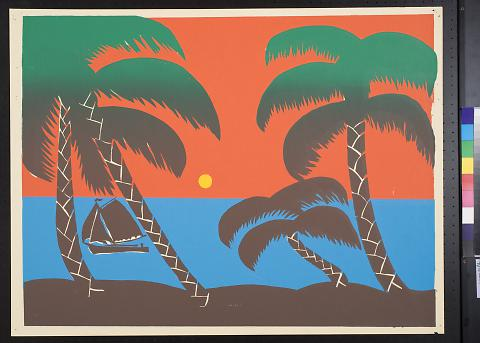 untitled (seascape with palm trees)