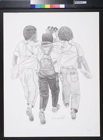 Untitled (3 school boys walking towards 3 school girls)