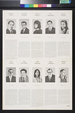 untitled (headshots of student government officials and opinions on elections)