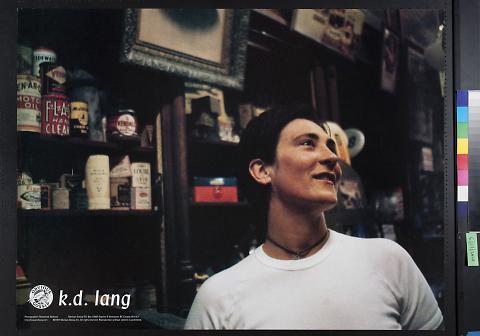 untitled (K.D. Lang in a white t-shirt in an old store)