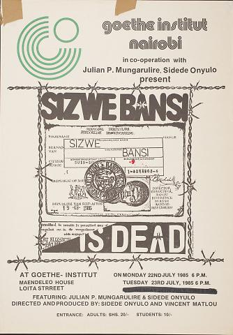 essays on sizwe bansi is dead Sizwe banzi is dead summary sizwe bansi is dead was written by athol fugard and coauthored by john kani and winston ntshona, the two actors who originally appeared in the play as styles and sizwe bansi.