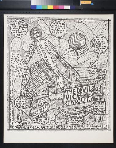 untitled (figures in vehicle surrounded by phrases)